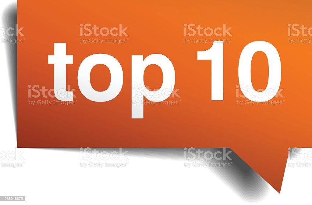 top 10 orange speech bubble isolated on white vector art illustration
