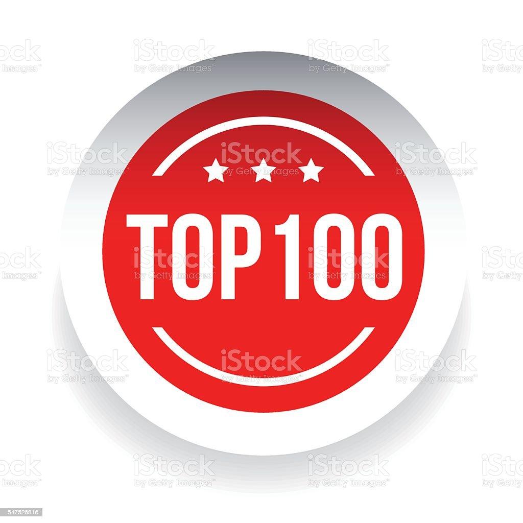 Top 100 label red vector vector art illustration