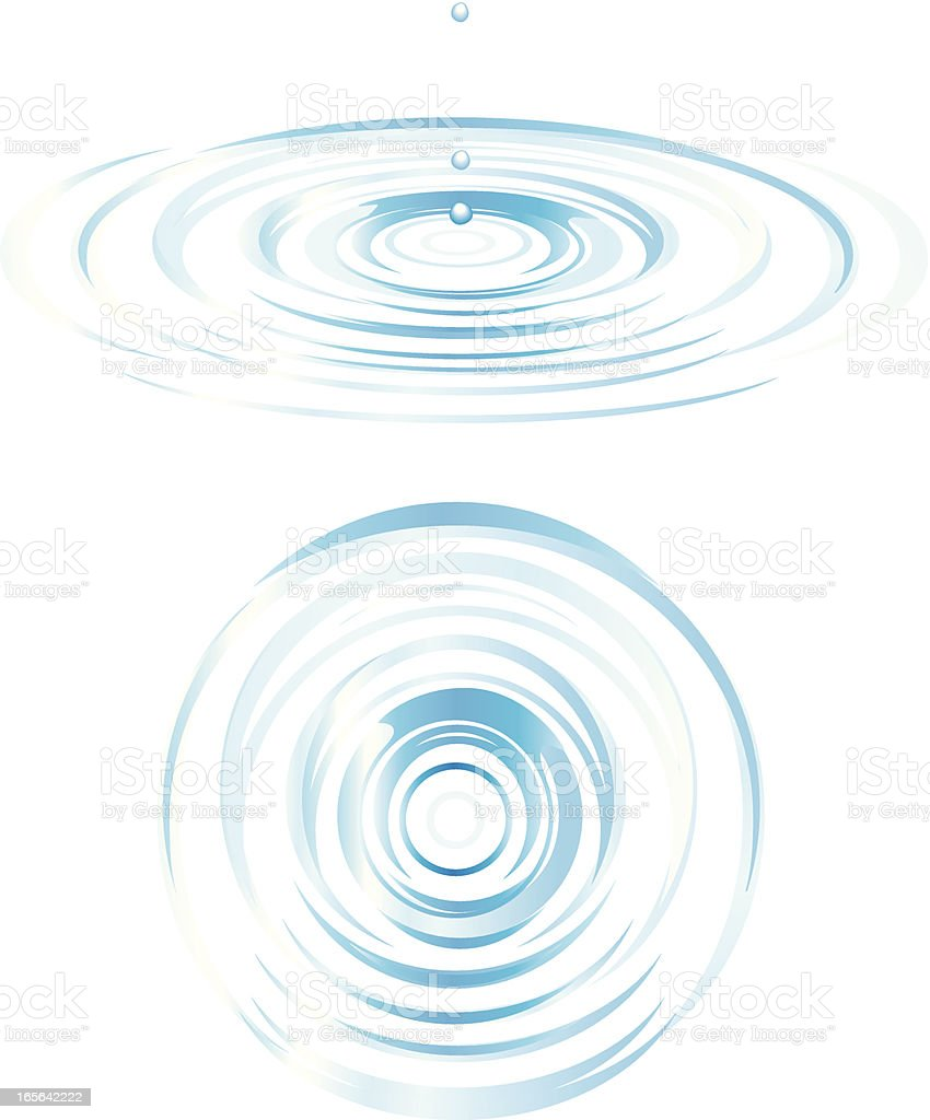 Top and Side View of Ripples vector art illustration
