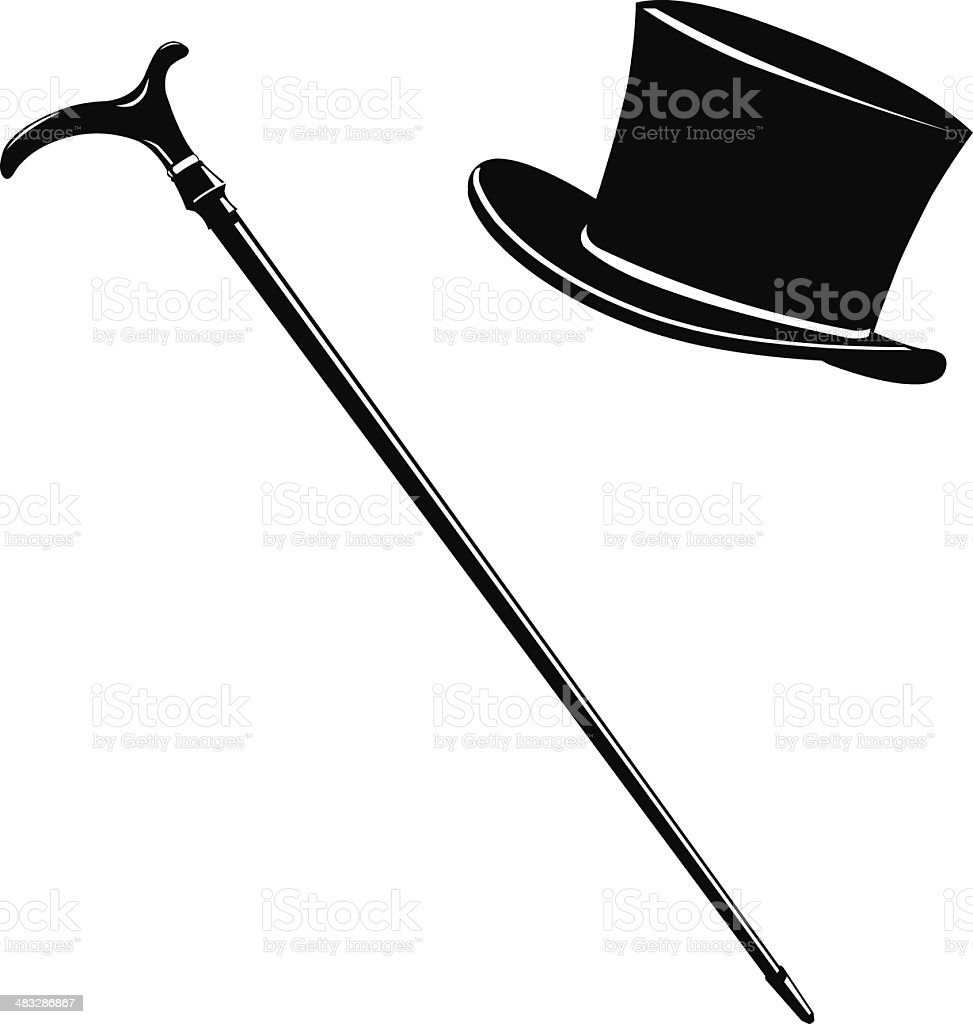 Top Hat and Cane Icon Silhouette vector art illustration