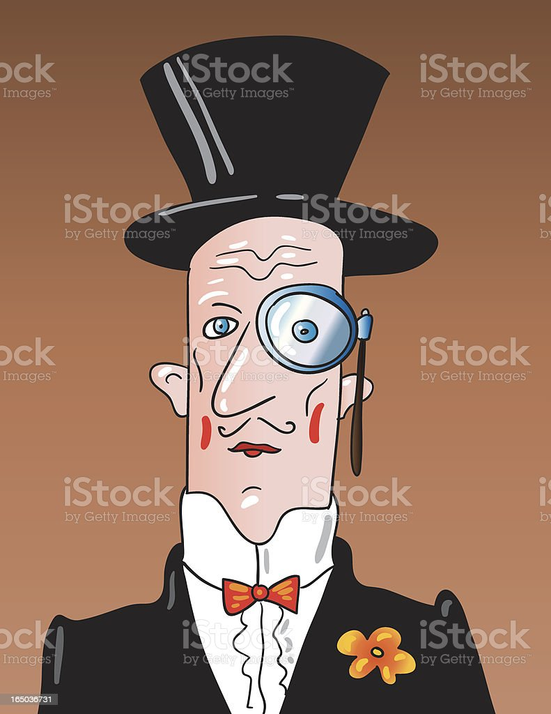 top hat and monocle vector art illustration