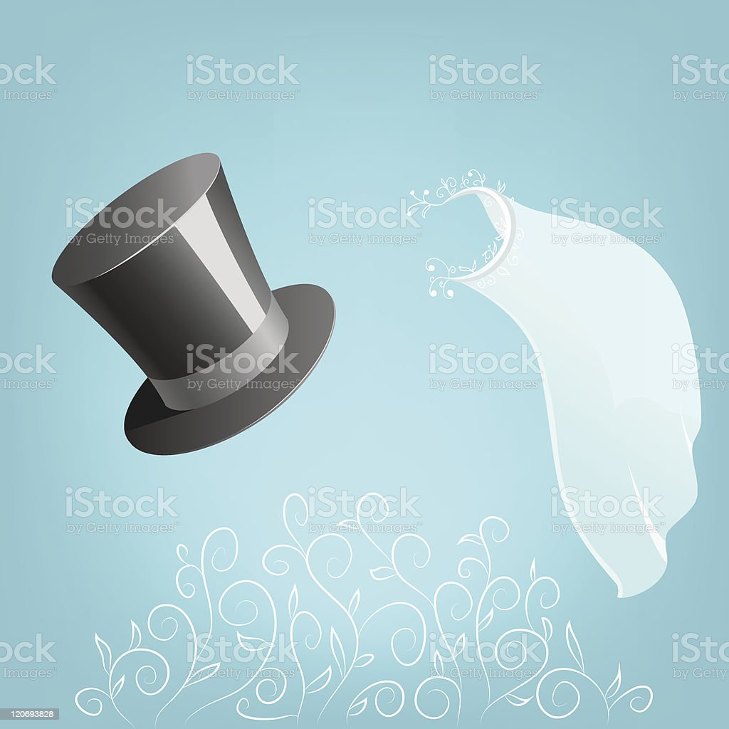 Top hat and wedding veil with floral ornament vector art illustration