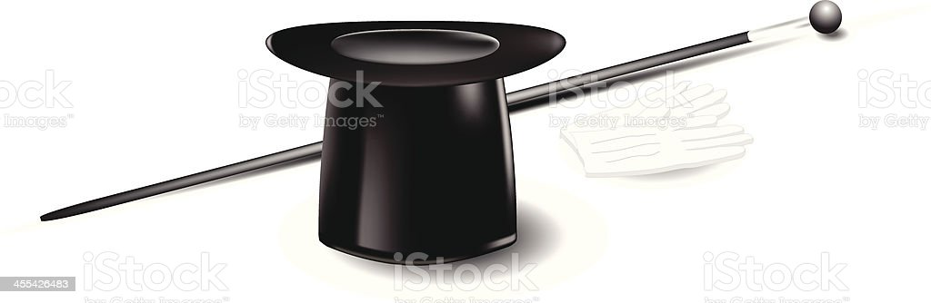 Top Hat, Cane and Gloves vector art illustration