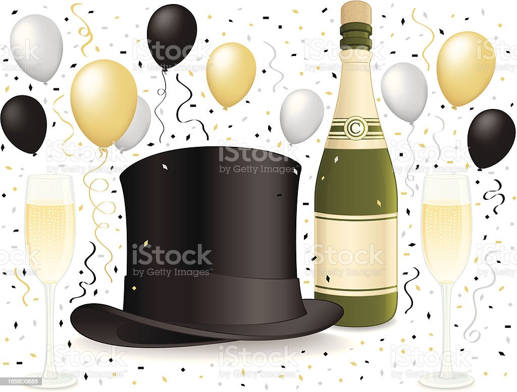 Top hat celebration - Happy New Years! royalty-free stock vector art