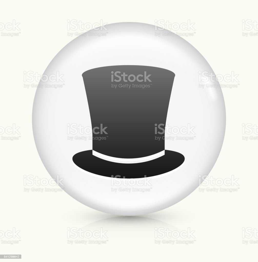 Top Hat icon on white round vector button vector art illustration