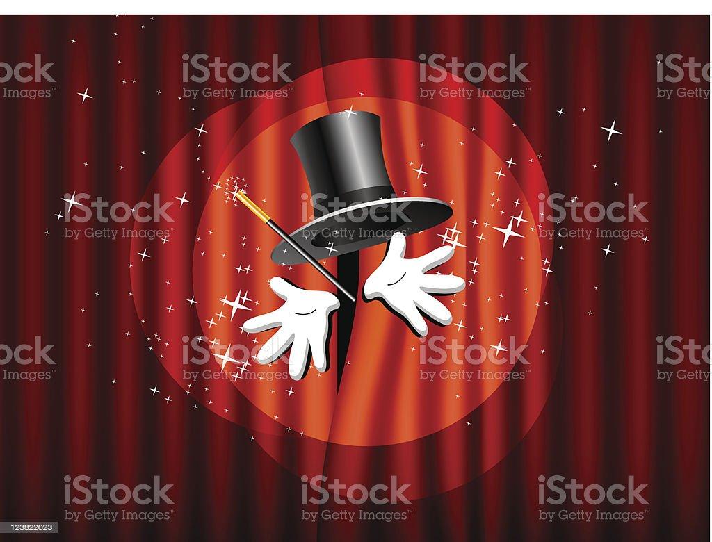 top hat, magic wand and hand vector art illustration