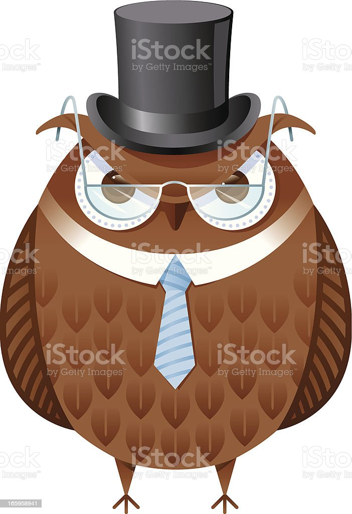 Top hat owl vector art illustration