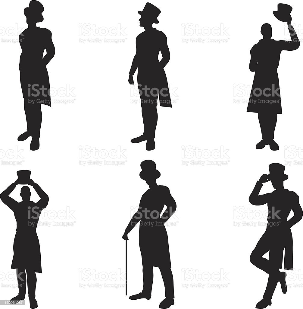Top Hat Silhouettes vector art illustration