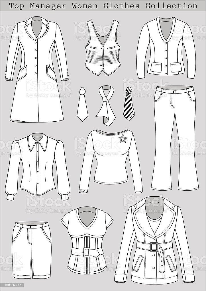 Top manager woman clothes collection royalty-free stock vector art