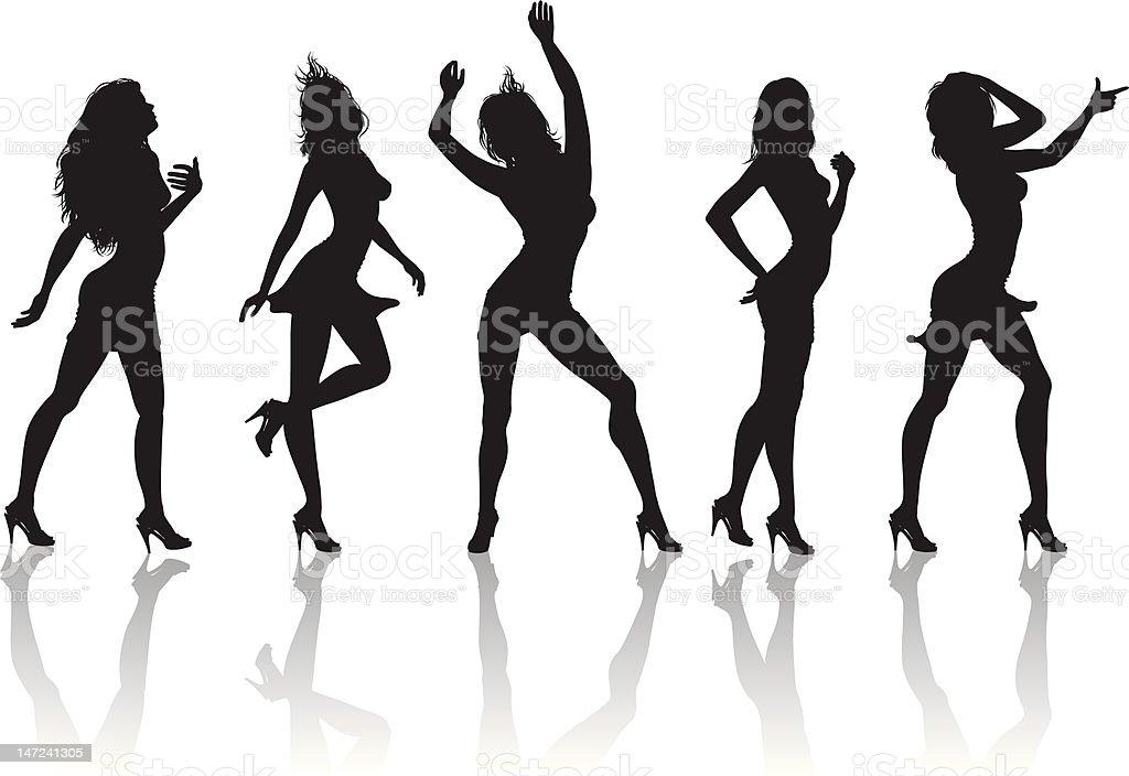 top models posing vector art illustration