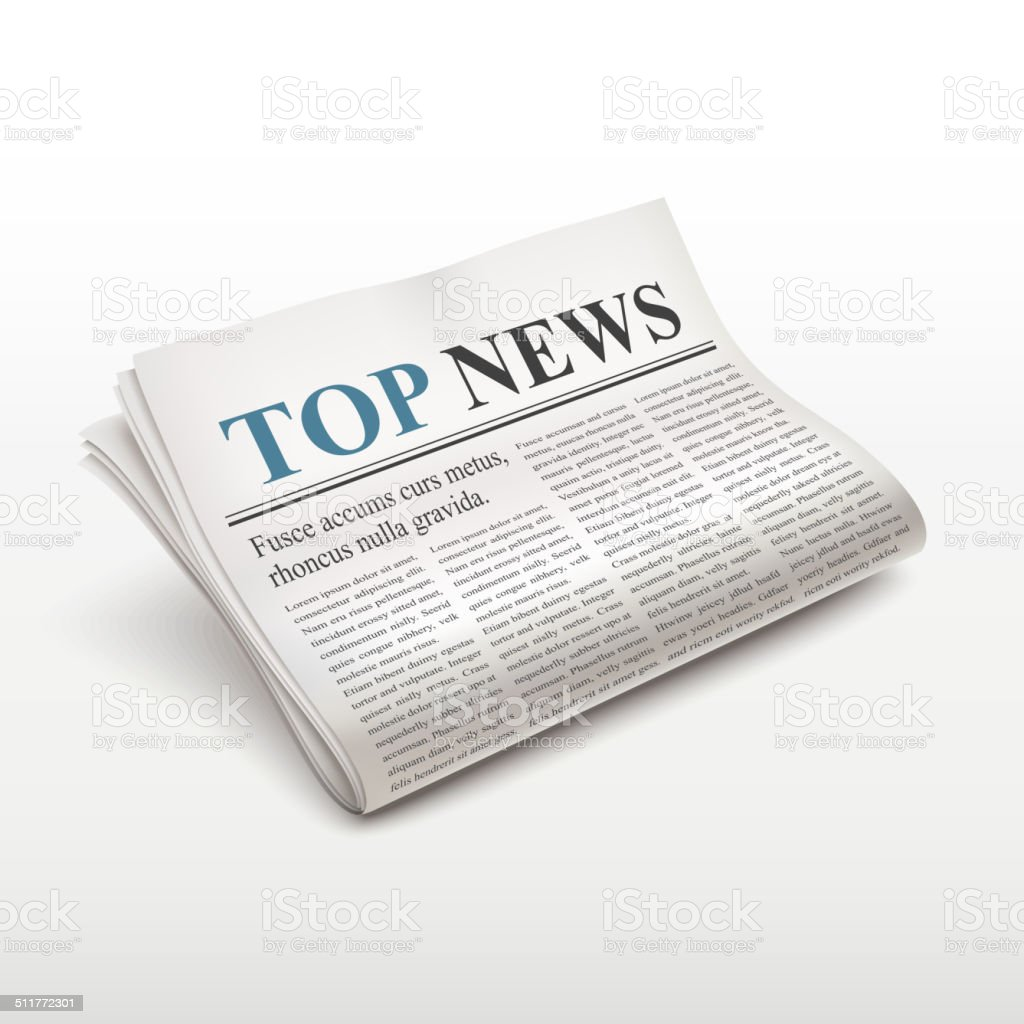 top news words on newspaper vector art illustration