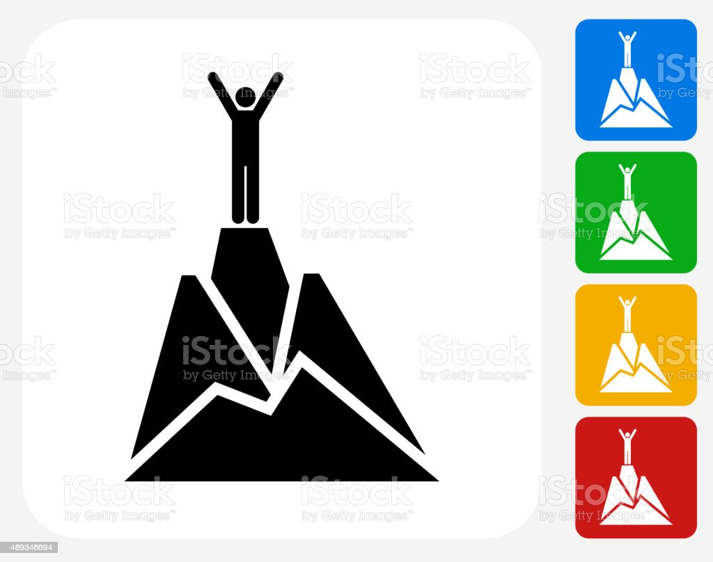 Top of the Mountain Icon Flat Graphic Design vector art illustration
