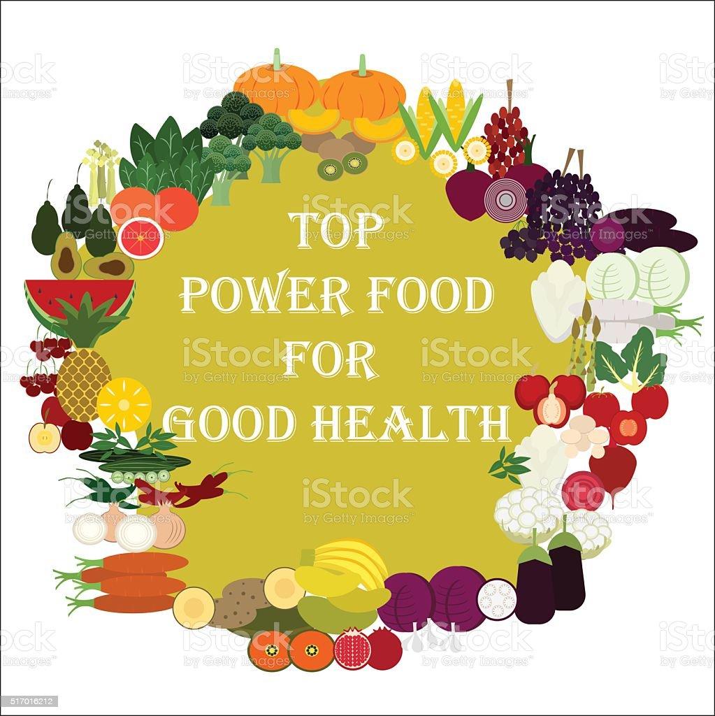 Top power food for good health vector art illustration