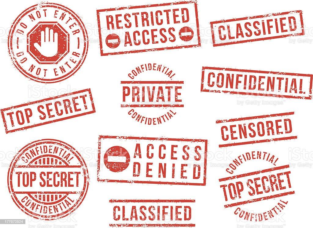 Top secret rubber stamps vector art illustration