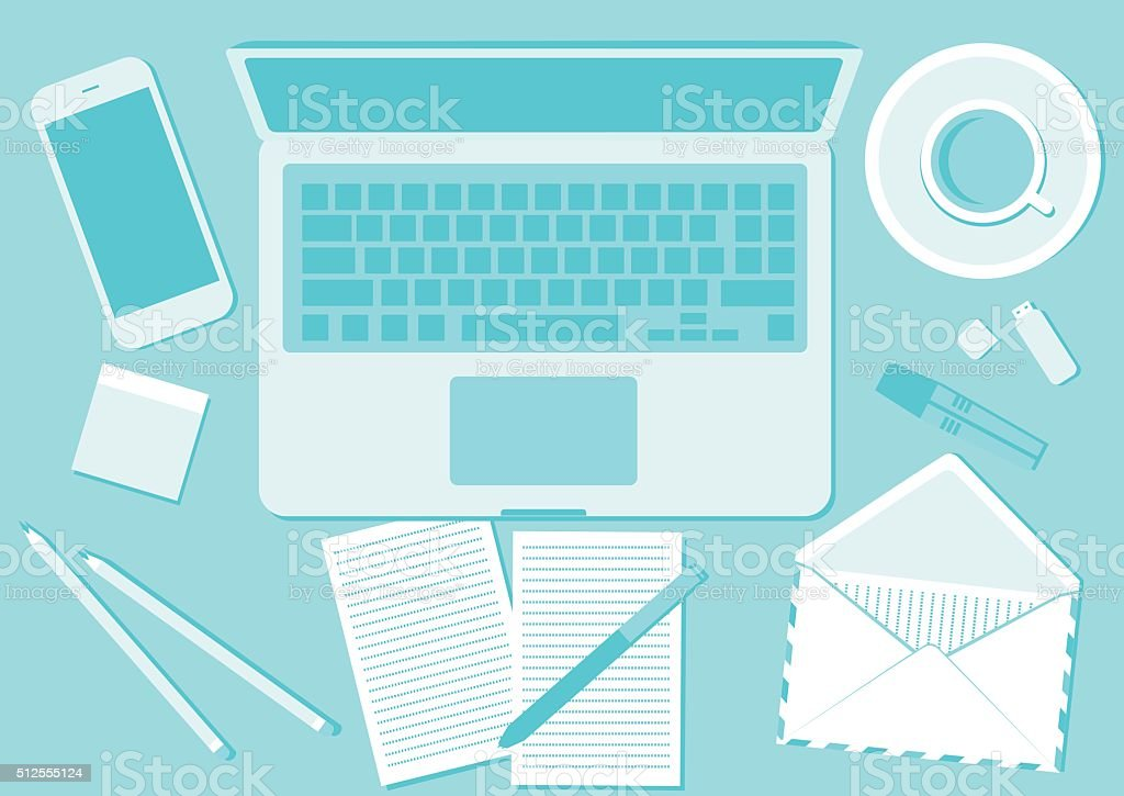 Top View angle above the office vector art illustration
