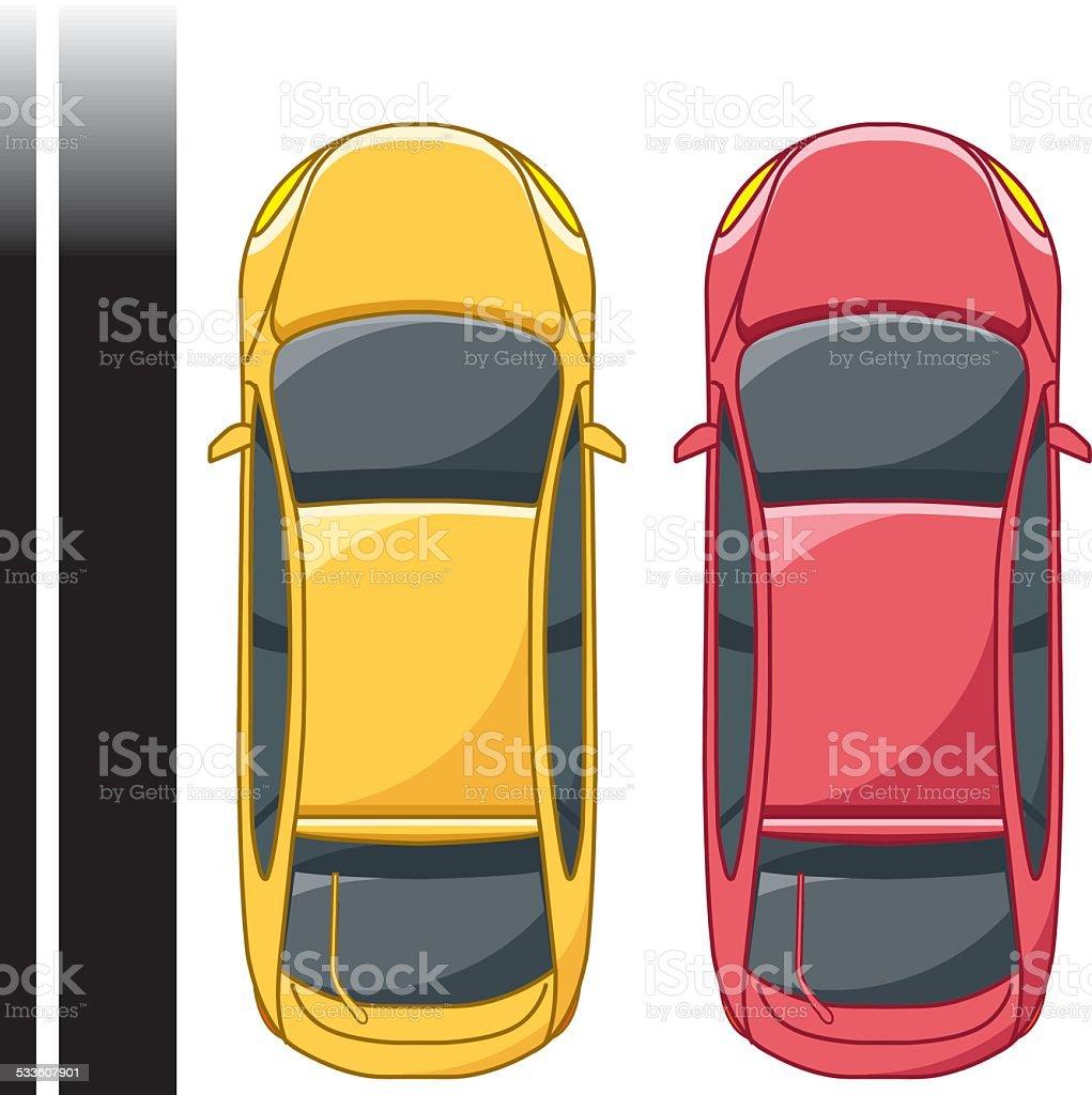 top view car 2 vector art illustration