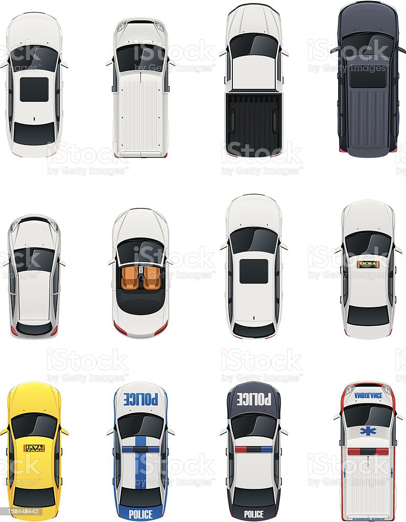 Top view cars set vector art illustration
