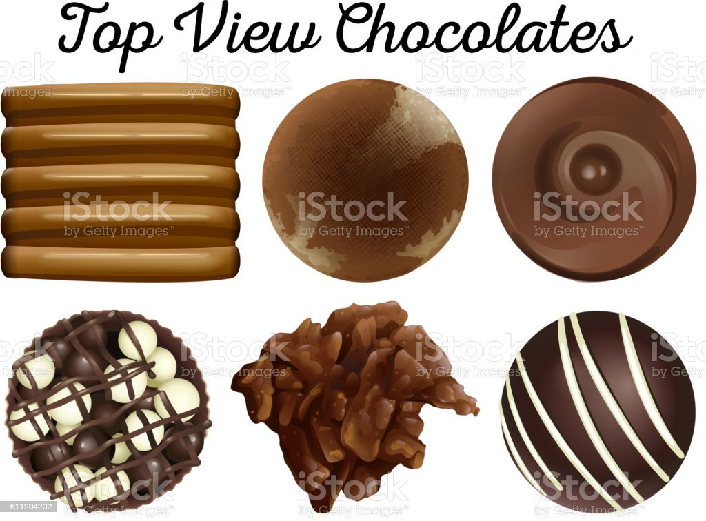 Top view chocolates in different shapes vector art illustration
