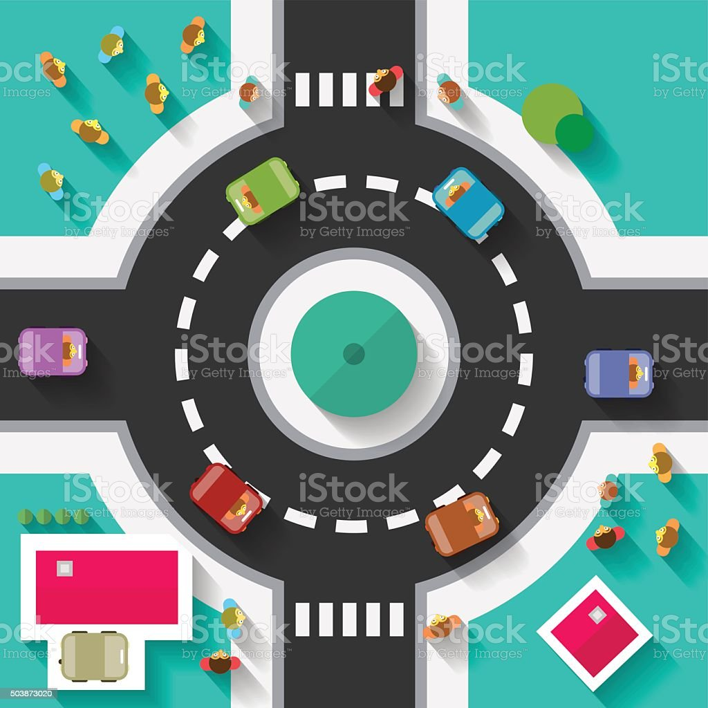 Top View Flat Design Roundabout Crossroad vector art illustration