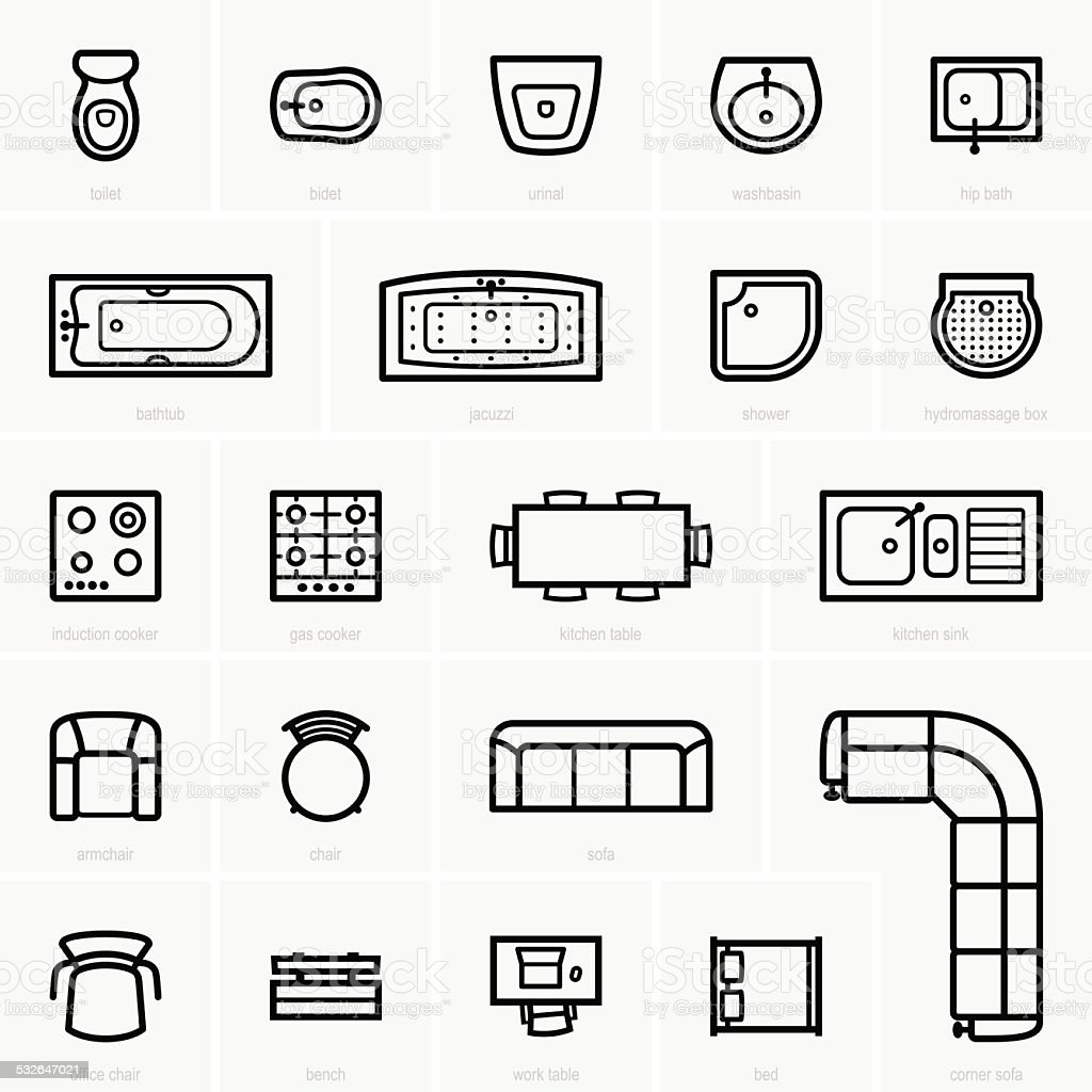 Top view furniture icons vector art illustration