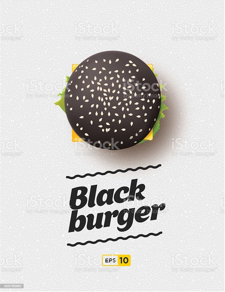 Top view illustration of black cheesburger on the grey background vector art illustration