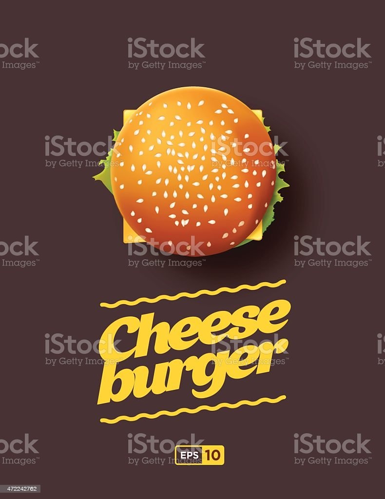 Top view illustration of cheesburger vector art illustration