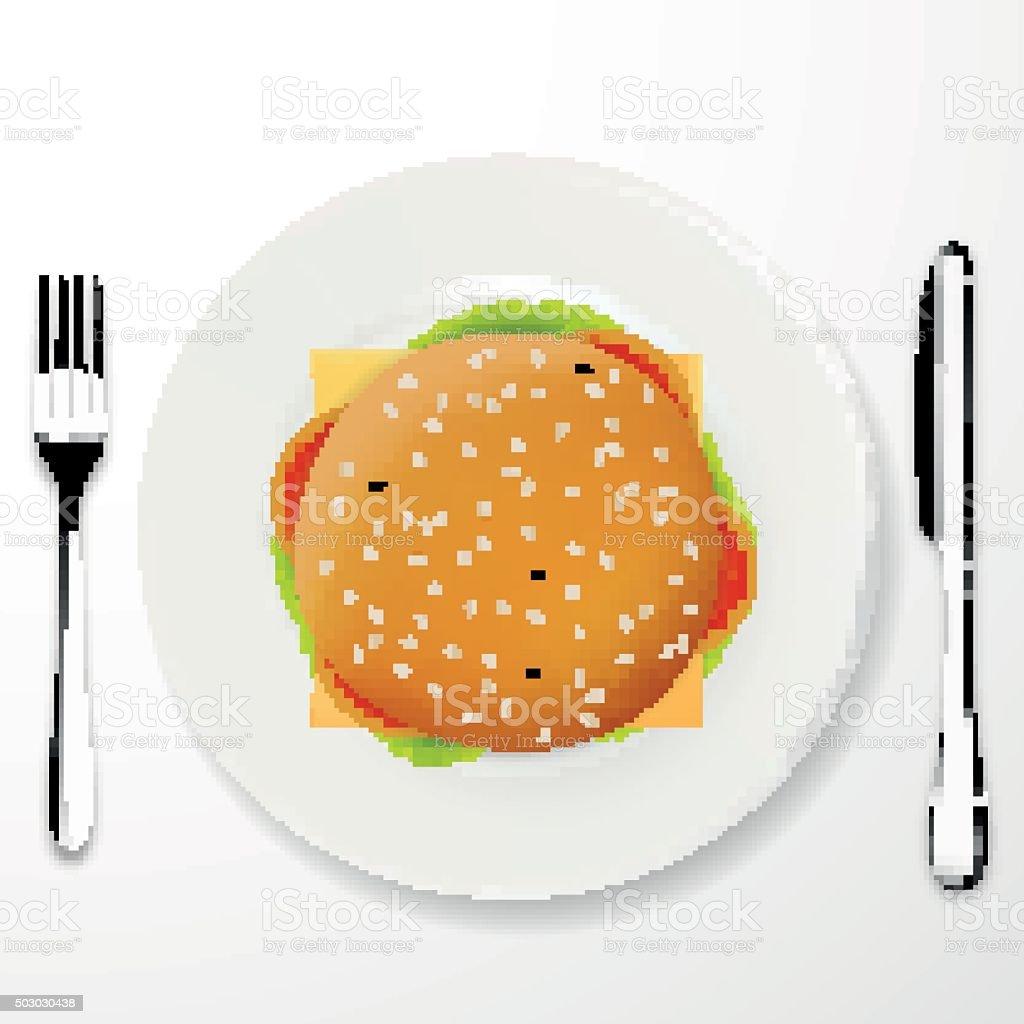 Top view illustration of cheeseburger vector art illustration