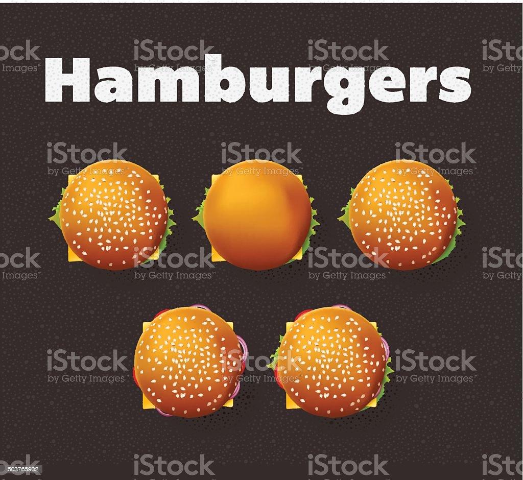 Top view illustration of hamburgers. Realistic vector set. vector art illustration