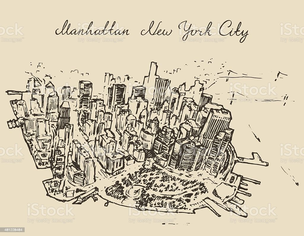 Top view Manhattan New York, United States Sketch vector art illustration