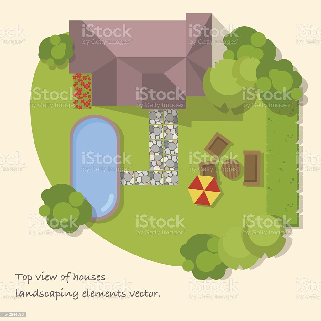 Top view of a country with house,courtyard, lawn, pool. vector art illustration
