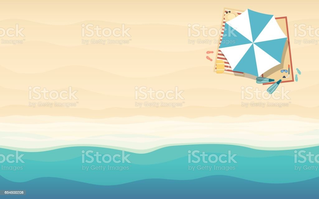 top view of beach umbrella in flat icon design at sea background (vector) vector art illustration