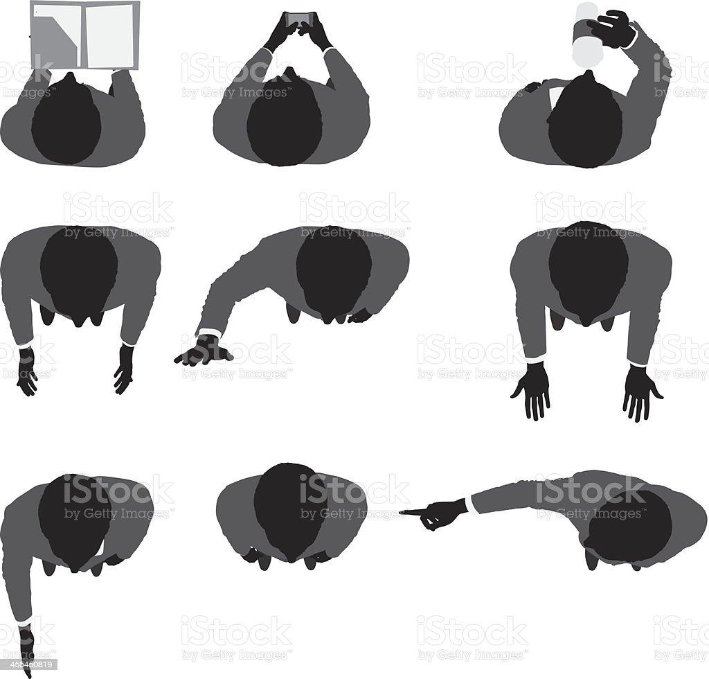 Top view of businessmen vector art illustration