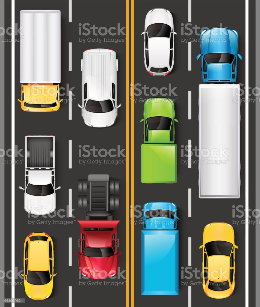Top view of cars and trucks on the road. Cars are driving on the highway. Traffic on the road. Vector illustration vector art illustration