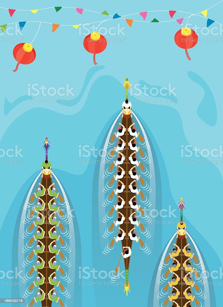 Top view of Chinese Dragon Boat competition vector art illustration