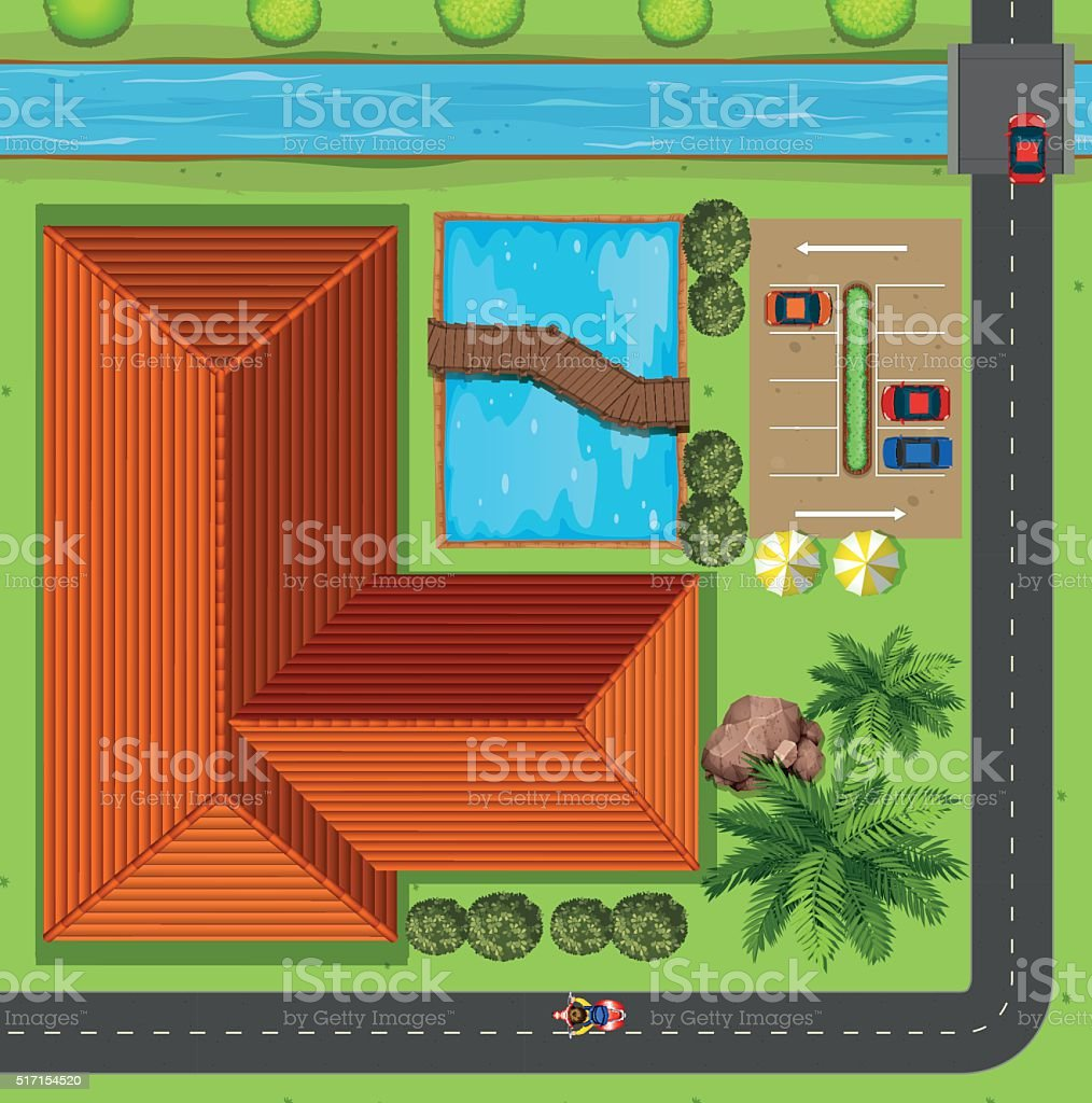 Top view of club house with parking lot vector art illustration