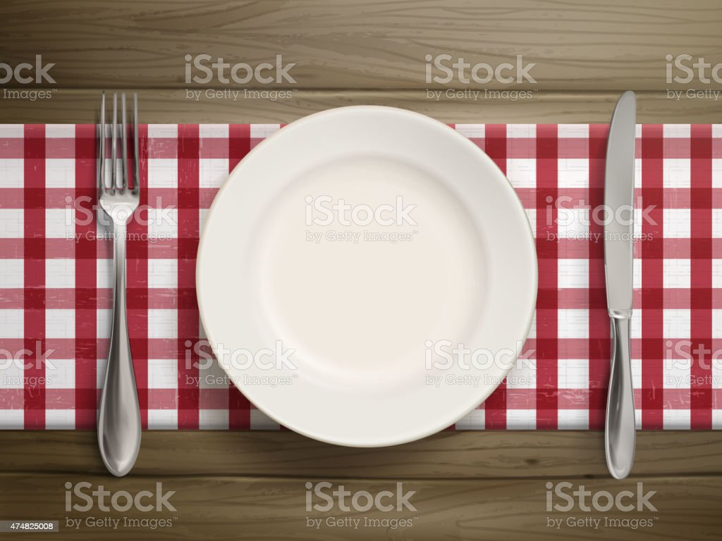 top view of empty plate with spoon and knife vector art illustration