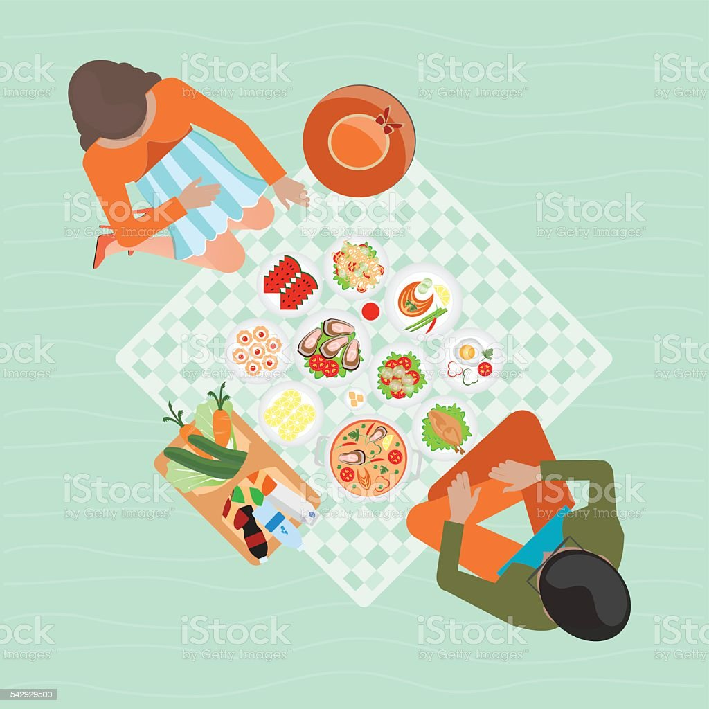 Top view of Happy couple picnic resting outdoors. vector art illustration