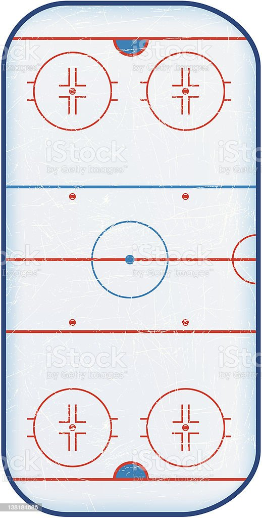 Top View of Hockey Rink royalty-free stock vector art