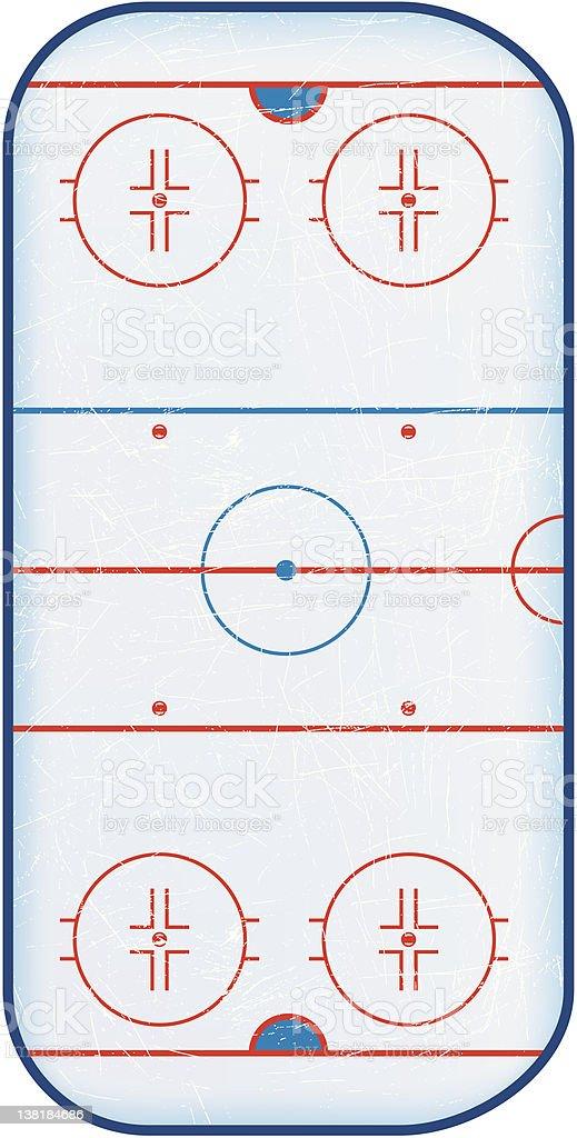 Top View of Hockey Rink vector art illustration