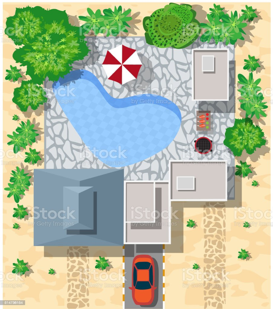 Top view of houses vector art illustration