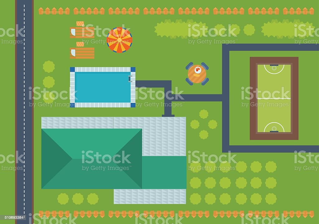 Top view of outdoor house. vector art illustration