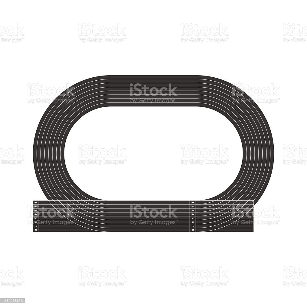 Top view of running track vector art illustration