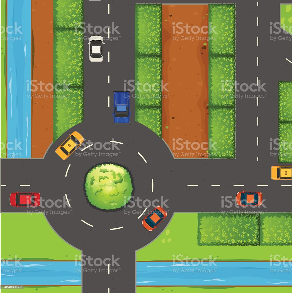 Top view of street and roundabout vector art illustration