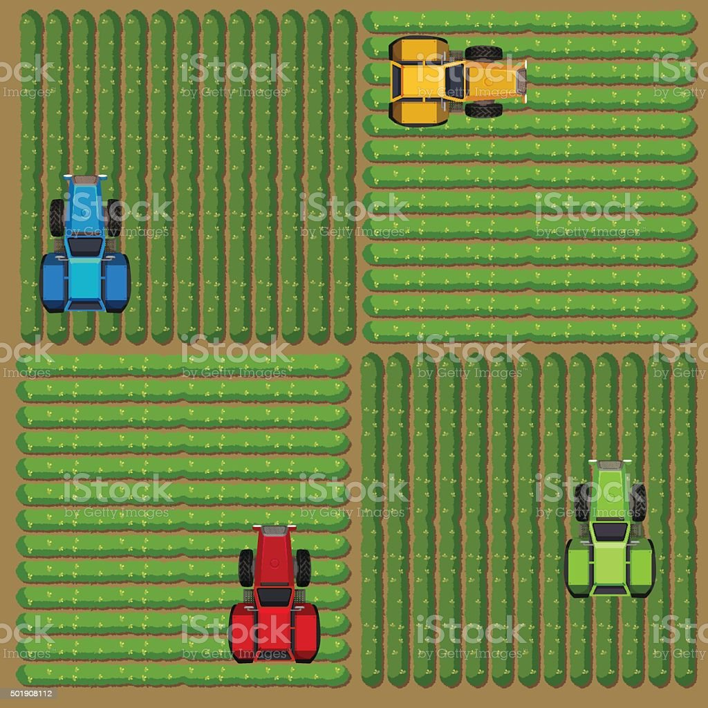 Top view of tractors working on the farm vector art illustration