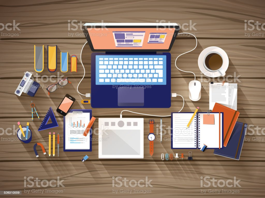 top view of working place in flat design vector art illustration
