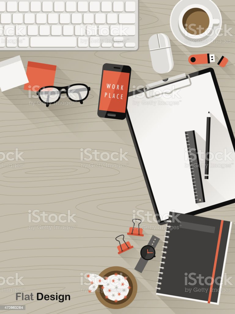 top view of workplace in flat design vector art illustration