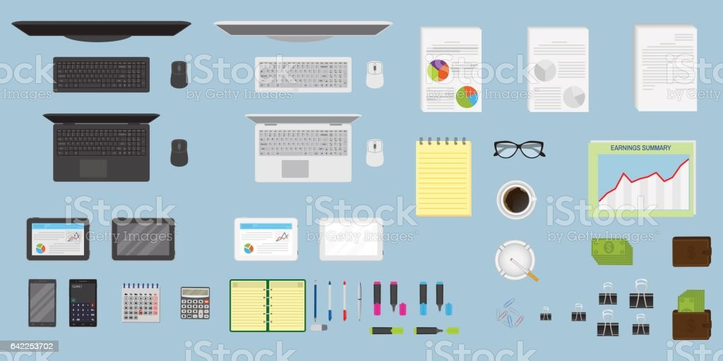 Top view office table workspace organization. Create your own style. EPS10 fully editable. vector art illustration
