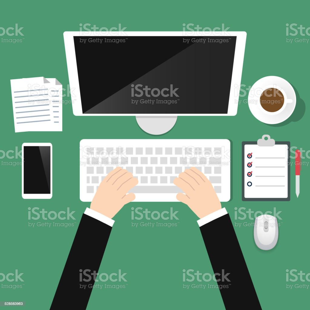 Top view office workplace vector art illustration