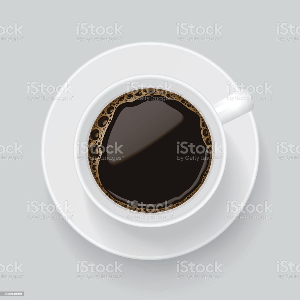 Top view on cup of black coffee. vector art illustration