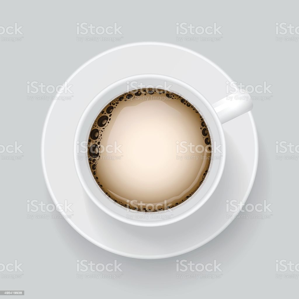 Top view on cup of white coffee. vector art illustration